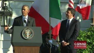 President Obama & Italian Prime Minister Renzi remarks at White House Arrival Ceremony (C-SPAN)