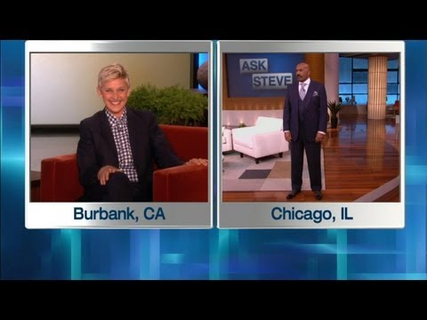 Ellen in Steve Harvey's Ear