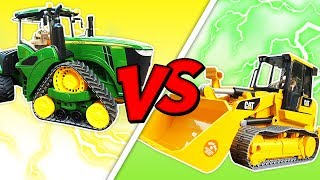 Toy Tractors Fight: Who is Stronger? A Toy Tractor for Kids & a Bulldozer - Toy Cars for Kids