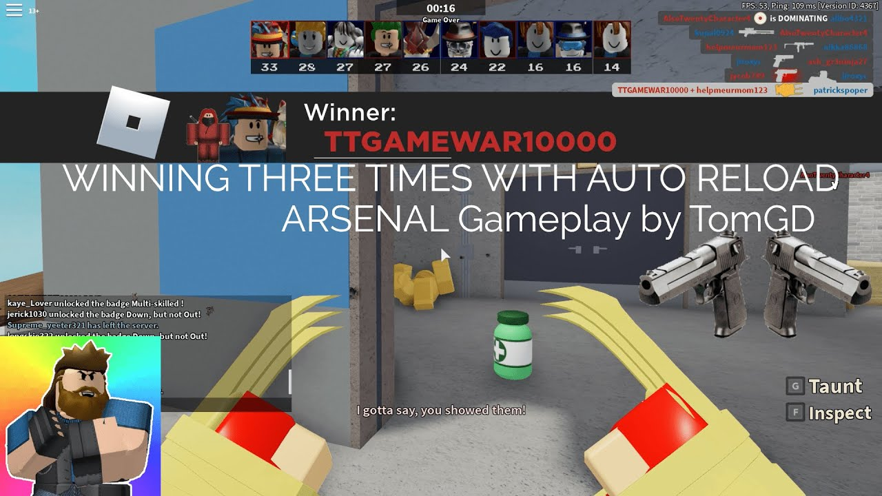 3 Wins With Auto Reload Rblx Arsenal Gameplay By Tomgd Youtube