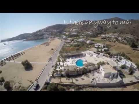 Mylopotas beach and FreeBeachBar on Ios Island from above