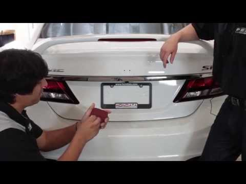 Rear JDM Honda Red H Emblem Install - Civic Sedan Si 2012 2013 2014 2015