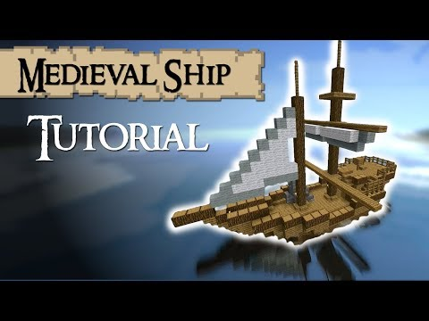 Minecraft Tutorial: How To Build A Medieval Ship (Tradeship) Version 2