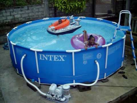 Kids having fun in intex swimming pool - YouTube