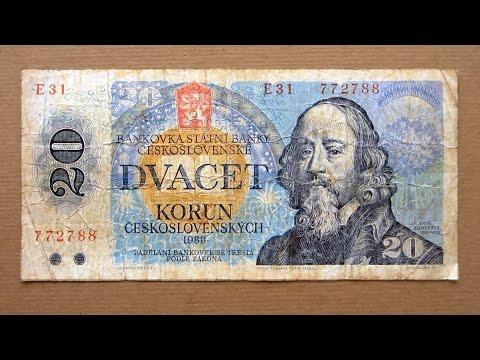 20 Czechoslovakian Korun Banknote (Twenty Korun Czechoslovakia: 1988) Obverse & Reverse
