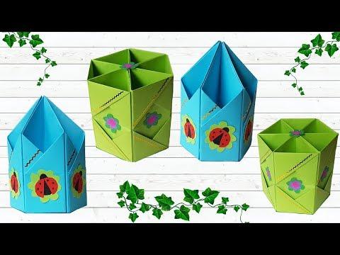 How to diy origami pencils holder: easy paper craft | Оригами из бумаги: подставка для карандашей
