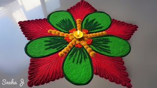 Beautiful and unique rangoli design | Innovative rangoli designs