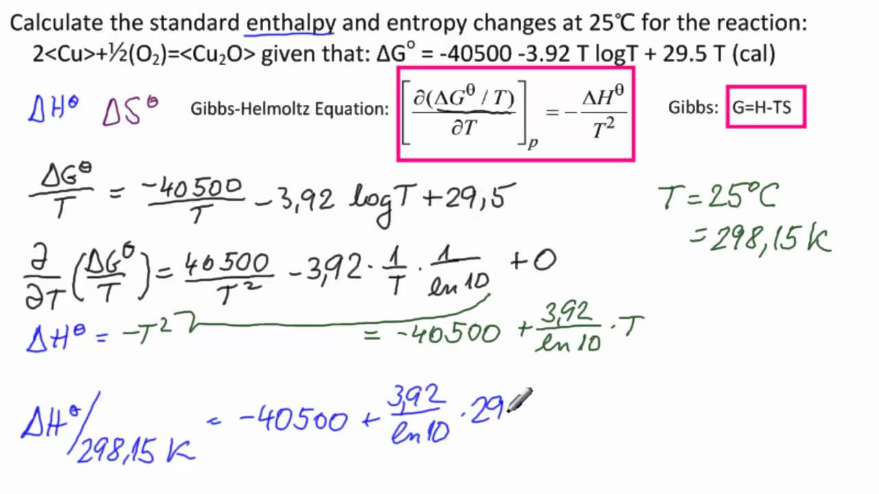 Calculate Enthalpy, Enthropy Change for Reaction - YouTube
