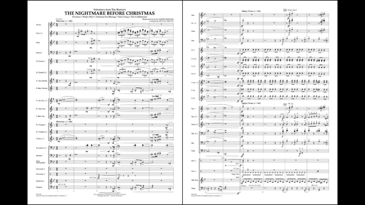 Selections from The Nightmare Before Christmas by Elfman/arr. Brown ...
