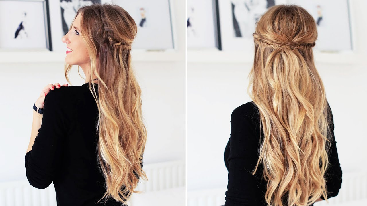 fishtail braid half- updo for short, medium, and long hair | luxy hair