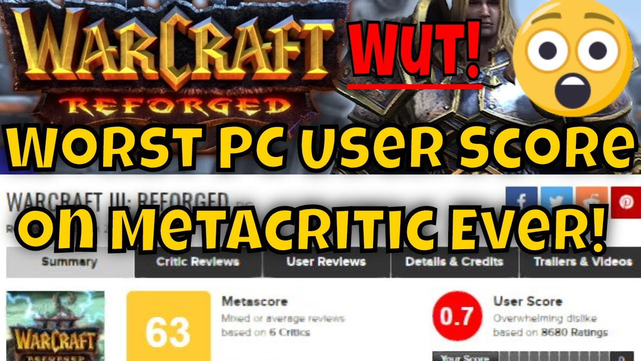 Warcraft 3 Reforged Earns Worst Pc User Score On Metacritic Ever