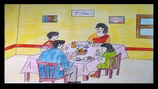 How to draw a scenery of a family breakfast 🍊🍓 Breakfast Table 🍷🎂 Breakfast Scenery Easily