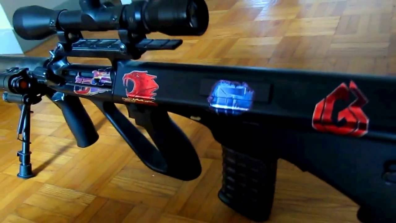 Real life csgo katowice 2014 holo stickers on my vanilla airsoft aug youtube