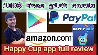 Cover images 100$ gift card || happy cup app full review
