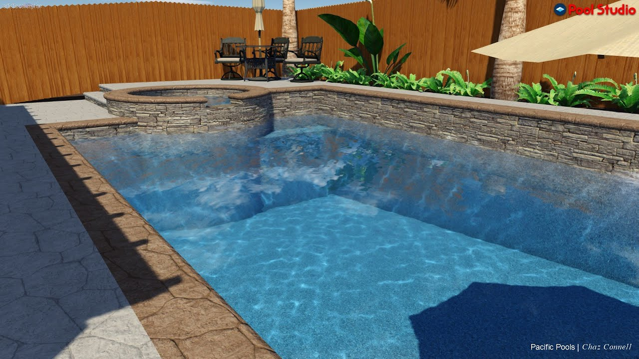 jm rectangle pool and spa with beach step youtube - Rectangle Pool