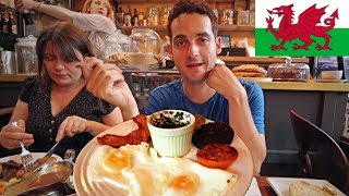TRYING WELSH FOOD 😱- American's FIRST IMPRESSION of Cardiff, Wales !  (Tasting British Food)