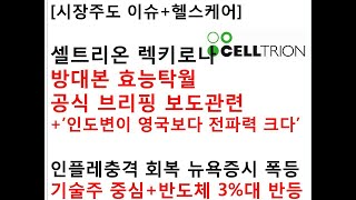 [시장주도 이슈+헬스케어]셀트리온 렉키로나방대본 효능탁…