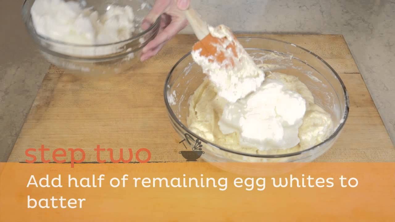 How To Fold Beaten Egg Whites Into A Cake Batter Step 1