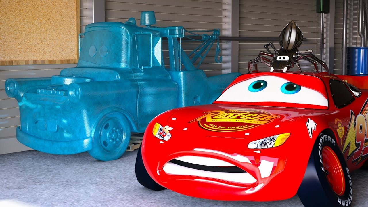 lightning mcqueen freaks out after seeing frozen mater. Black Bedroom Furniture Sets. Home Design Ideas