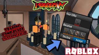 ROBLOX | ASSASSIN: TRADING MY COMPETITOR BLADE FOR 136 EXOTIC WORTH OF VALUE??? (INSANE)