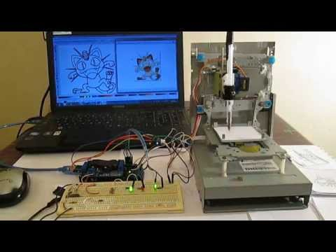 Mini CNC machine Arduino Based & Adafruit  Driver Motor L293D v1 & 2*Mini Stepper CD/DVD player #1