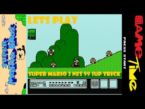 Super Mario 3 NES Level 1-2 Infinite 1up Trick NINTENDO with Game Time