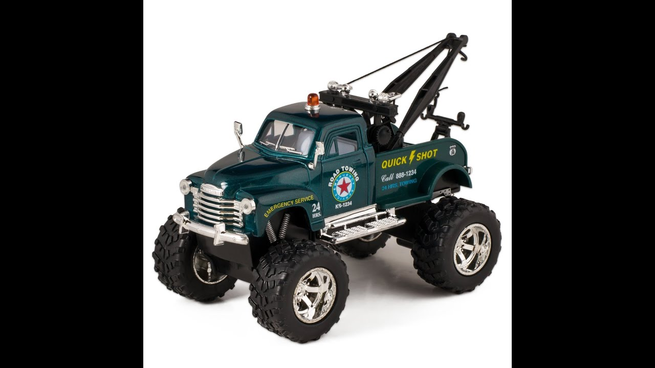 Chevy Off Road Wrecker Die Cast Tow Truck Toy with Monster Wheels ...