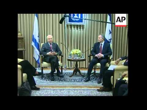 Quartet Middle East envoy Blair meets President Peres