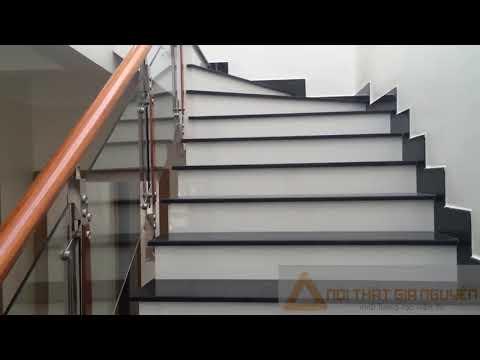 Cầu thang kính - Mẫu cầu thang kính chân cao đẹp hiện đại