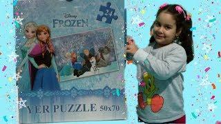 Elsa Frozen Büyük Puzzle Yaptık/Hıra Make Big Elsa Frozen Puzzle