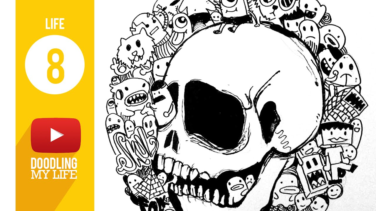 LIFE #08 Draw a skull with cute doodle monster - YouTube