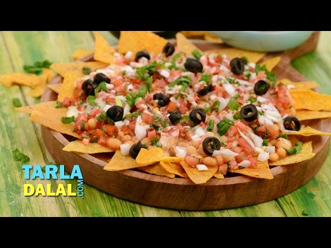Nachos With Salsa And Baked Beans By Tarla Dalal