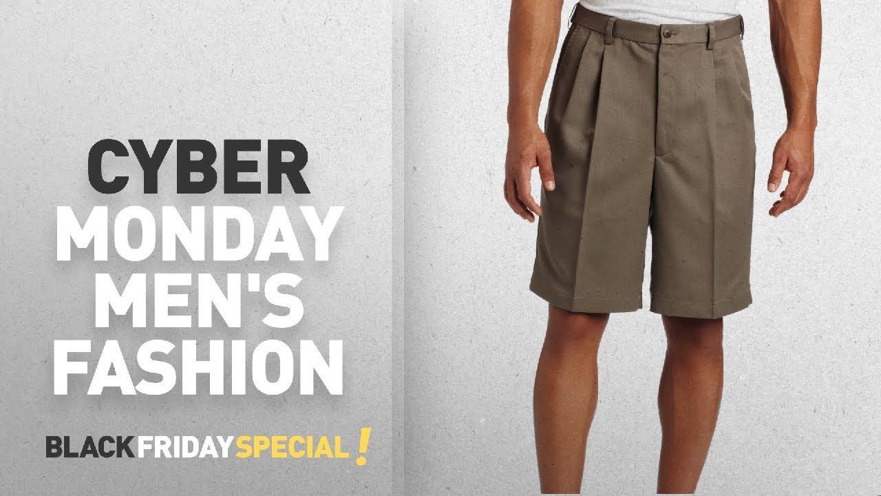 63fb48f4fd Cyber Monday Men's Pleated Shorts Deals: Haggar Men's Cool 18 Hidden  Expandable-Waist Pleat-Front