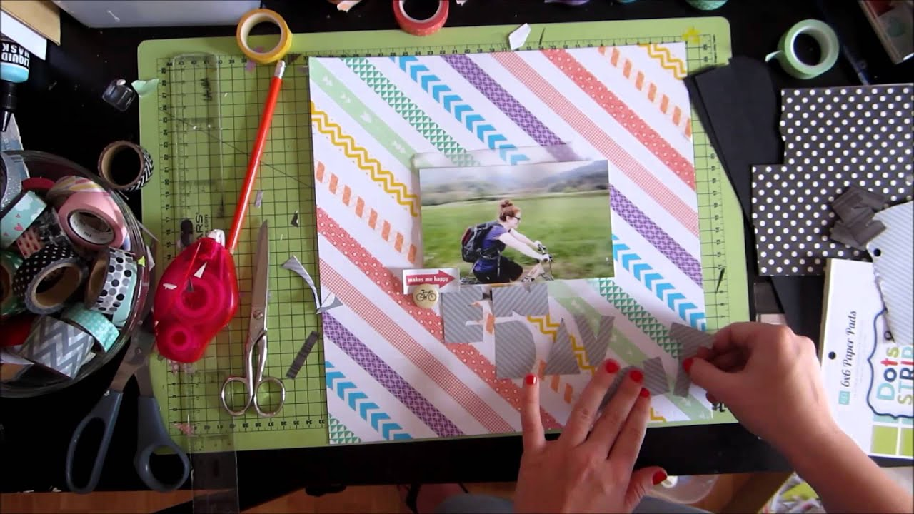 Scrapbooking Layout With A Washi Tape Background Youtube
