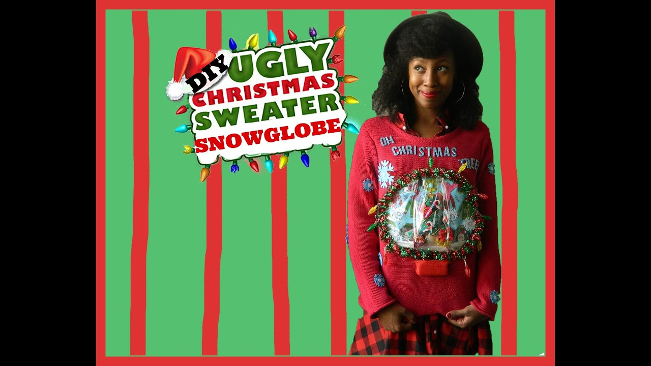 diy ugly snow globe christmas sweater youtube
