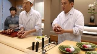 Kaiseki plating at the Michelin star restaurant Ginza Kojyu in Tokyo
