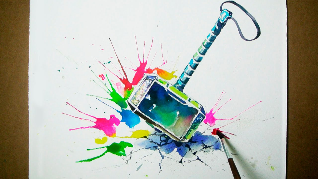 thor s hammer watercolor painting jayart youtube