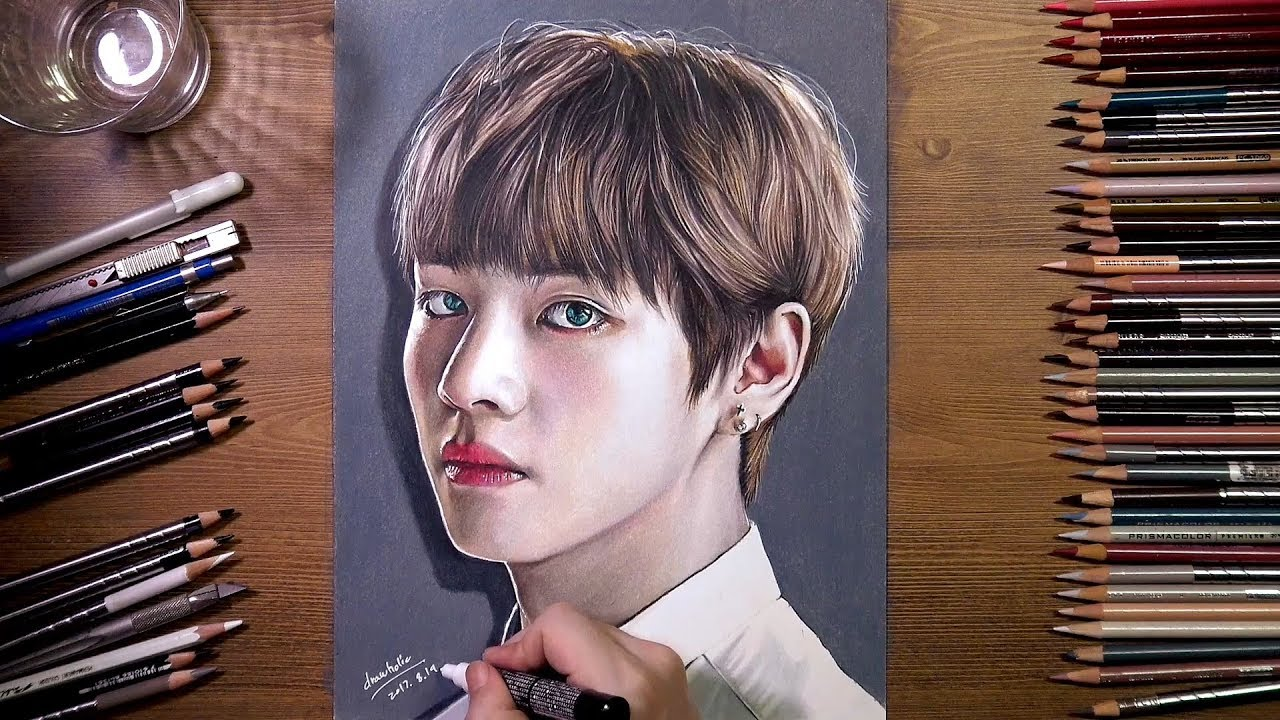 BTS : V (Tae Hyung) - colored pencil drawing | drawholic