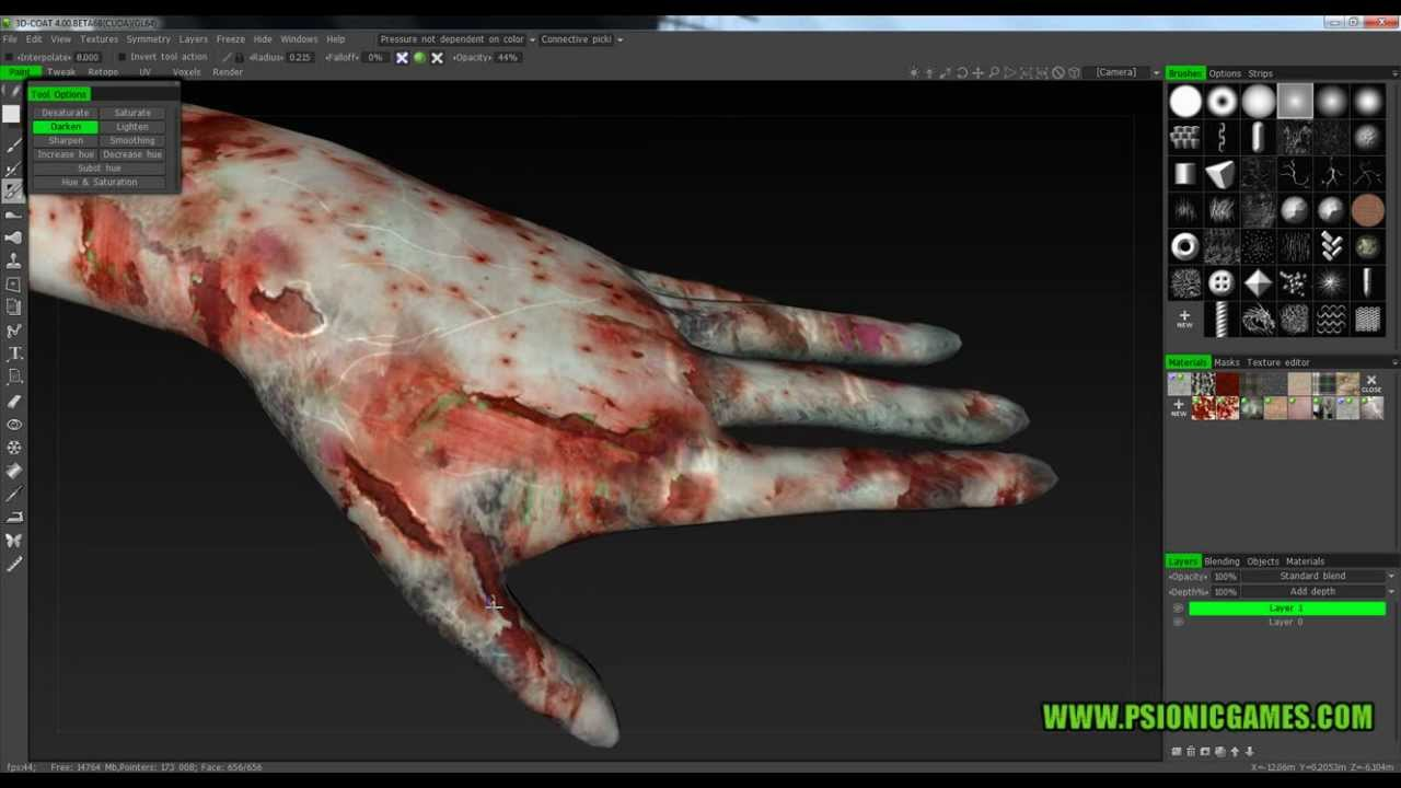 3D Coat Zombie hand UV mapping texturing Export to Cinema 4D