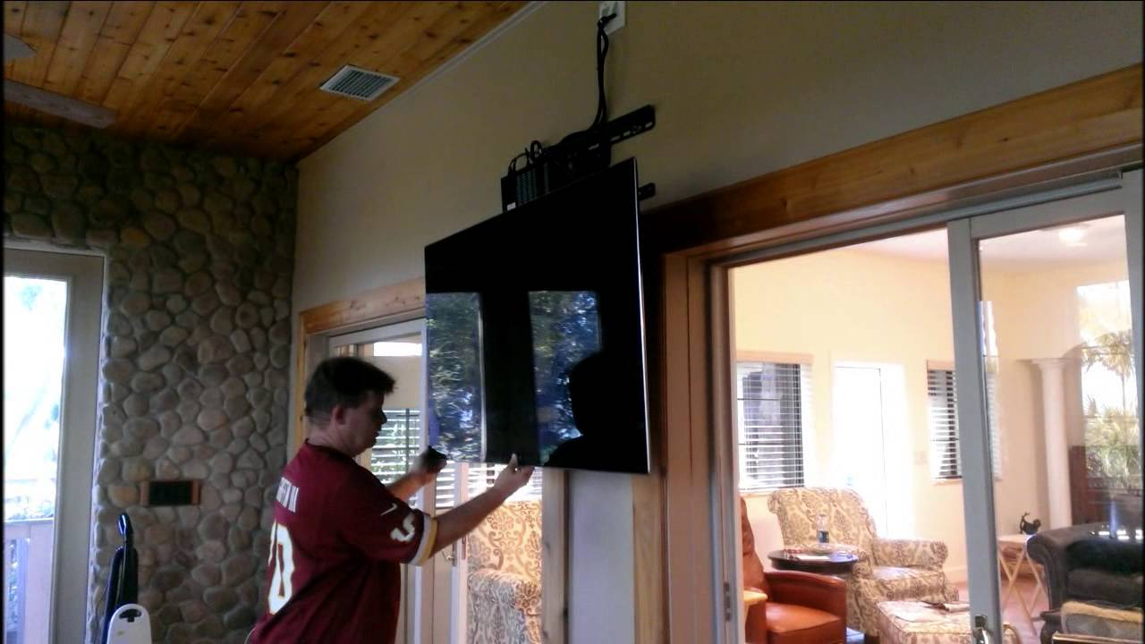 Demonstrating A Newly Installed Pull Down Tv Mount Youtube