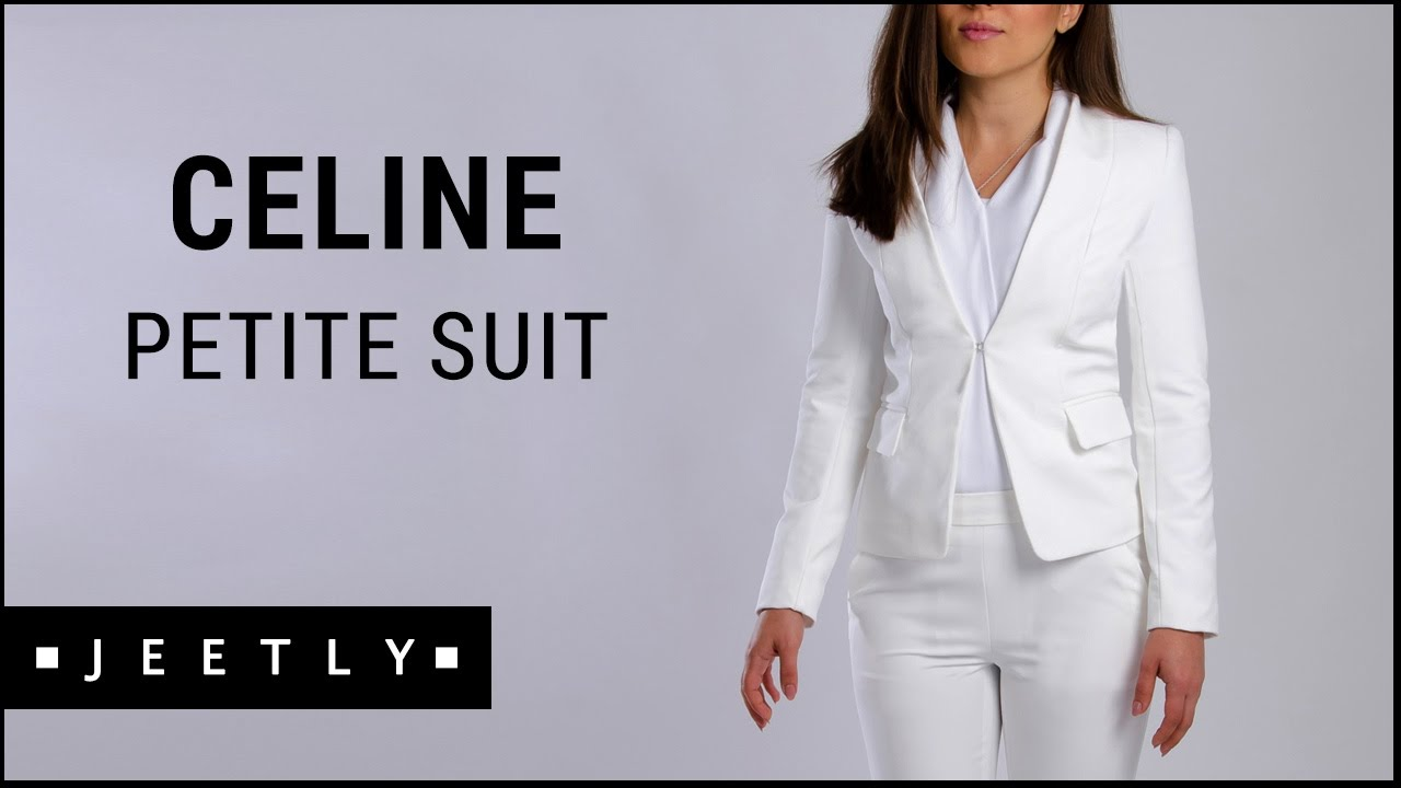 0989a272eaef4 Petite suit jacket and trousers - Celine white suit by Jeetly - YouTube