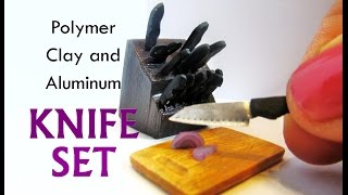 Polymer Clay and Aluminum Dollhouse Miniature Kitchen Knife Set and Cutting Board