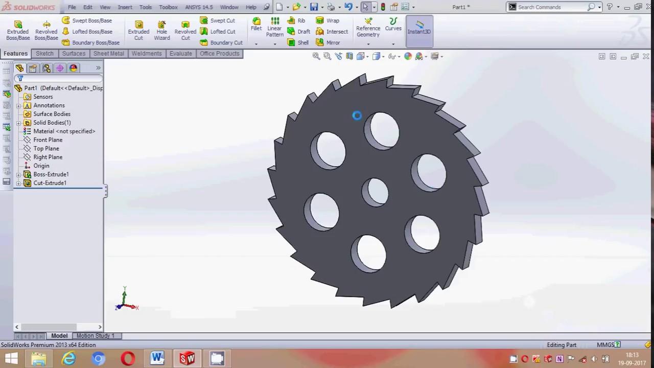 solidworks ratchet wheel mechanism design tutorial part 1