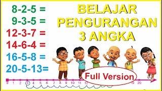 Belajar PENGURANGAN 3 angka dengan garis bilangan untuk anak SD kelas 1 bagian full version