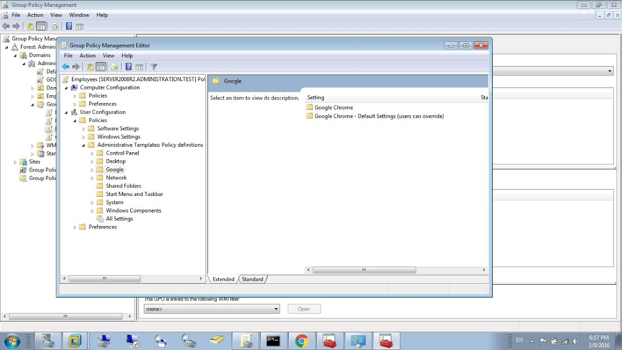 how to use google chrome group policy server 2008 r2 windows 7