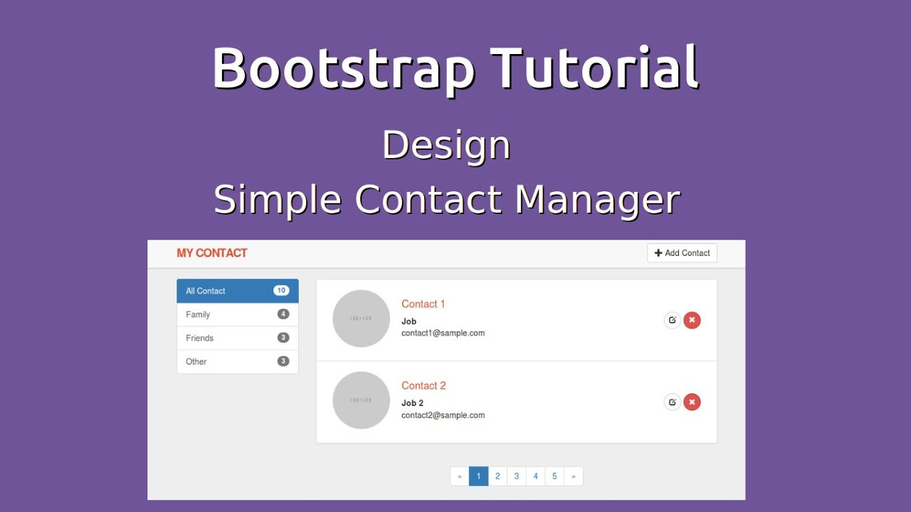 Bootstrap 3 tutorial design contact manager application youtube bootstrap 3 tutorial design contact manager application falaconquin