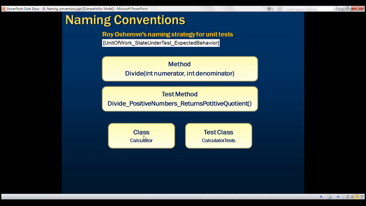unit test naming convention youtube