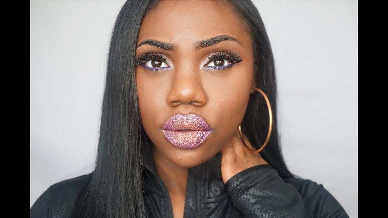 Bold Winged Eyeliner & Glitter Lipstick - YouTube