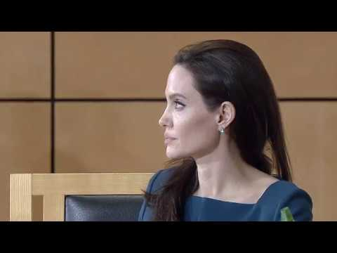 Angelina Jolie speaks during UN event in Geneva