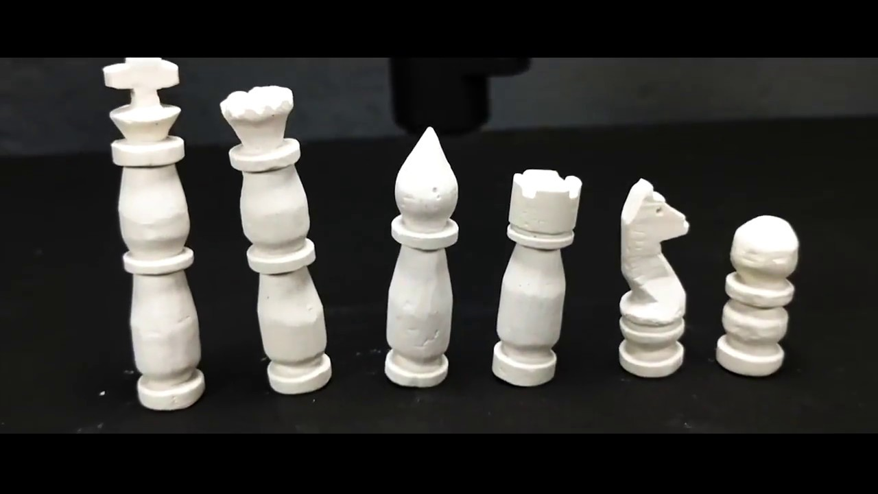 Diy Chess Pieces Set Out Of Chalk Carving Easy Youtube